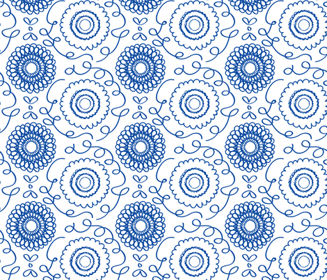 Blue Floral fabric by jenflorentine on Spoonflower - custom fabric