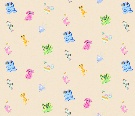 Amy and Tony's Monster Friends fabric by amyelyse on Spoonflower - custom fabric