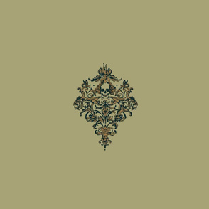 Gothic's Skull Damask in Earthy Spa Neutrals - single for pillow