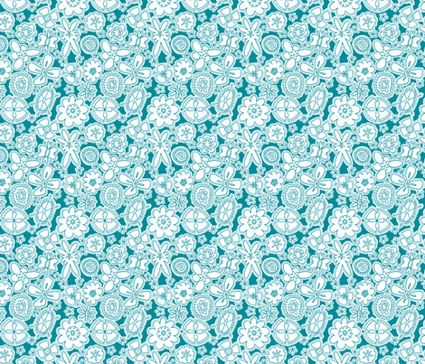 Flower Jamboree SMALL (Aqua and White) fabric by brendazapotosky on Spoonflower - custom fabric