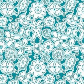 Flower Jamboree SMALL (Aqua and White)