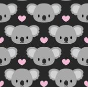 Cute koalas and pink hearts