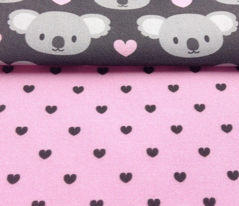 Tiny black hearts for cute koalas