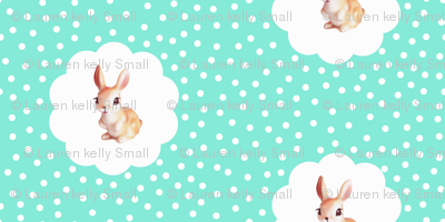 Retro Rabbit in Aquamarine Kitsch Polka Dot