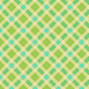 Plaid in Green and Aquamarine Diamond