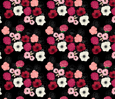 Black & Pink Flowers Midnight fabric by thickblackoutline on Spoonflower - custom fabric