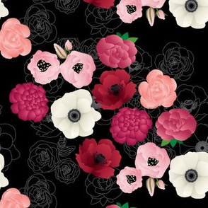 Black & Pink Flowers Midnight