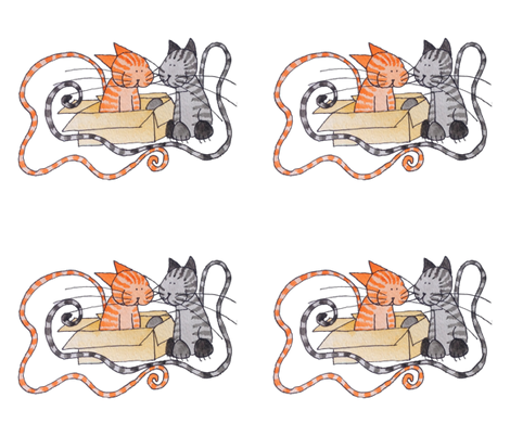 Orange and Grey Tabbies.. With Box! fabric by ottdesigns on Spoonflower - custom fabric