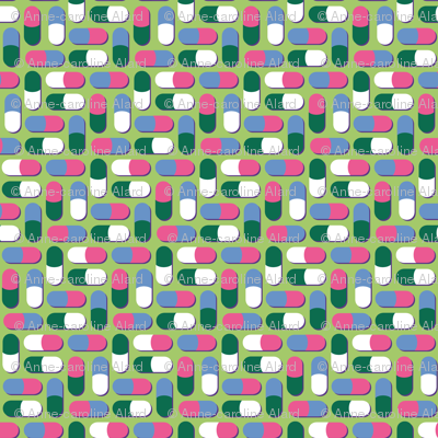Pink, blue, green and white pills - Synergy0011
