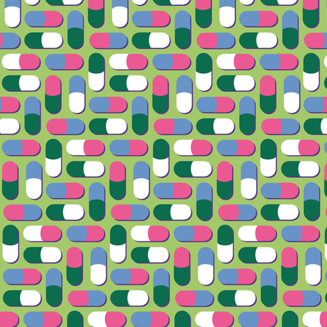 Pink, blue, green and white pills - Synergy0011 fabric by petitspixels on Spoonflower - custom fabric