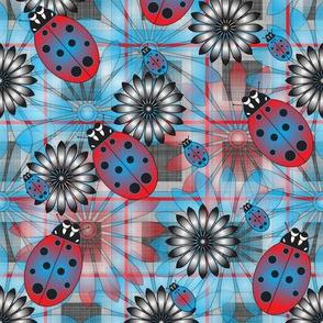 Lady_Bug_Flower_Blue_Plaid