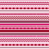 Red & Pink Chevron, Checkers, Dots & Stripes