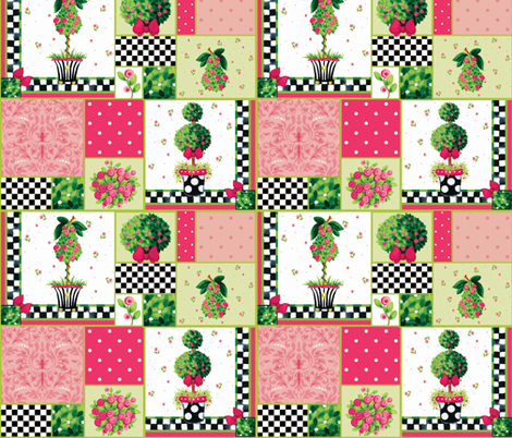 Pink_Posie_Patchwork fabric by kelly_a on Spoonflower - custom fabric