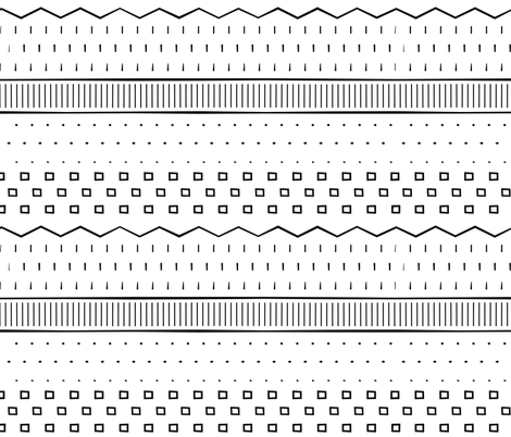 Tribal Black and White fabric by jenflorentine on Spoonflower - custom fabric