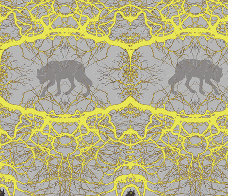 Fairy Tale Forest - Abstract Yellow large fabric by van_laun on Spoonflower - custom fabric