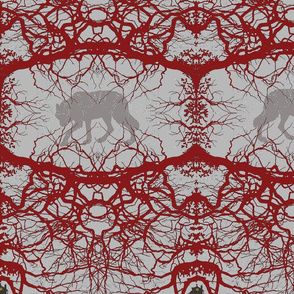 Fairy Tale Forest - Abstract red large
