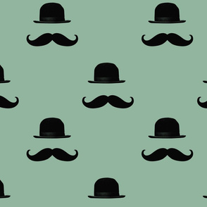 Green Mustaches and Hats