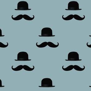 Blue and Black Hipster Mustaches