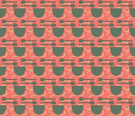 retro_kitchen-dish_and_spoon_green fabric by mammajamma on Spoonflower - custom fabric