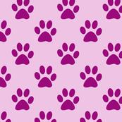 Cute Pink & Purple Puppy Paw Print Pattern