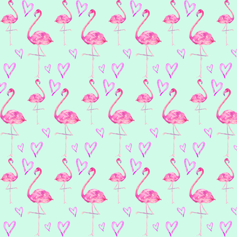 flamingos in mint fabric by erinanne on Spoonflower - custom fabric