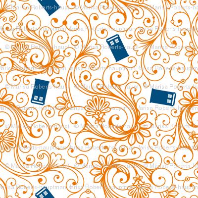Blue phone boxes on orange swirl
