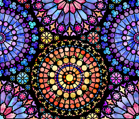 Painted Rose Windows (Multicolored - Large) fabric by logan_spector on Spoonflower - custom fabric
