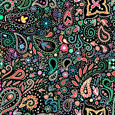 blacklight chalkboard paisley  fabric by beesocks on Spoonflower - custom fabric