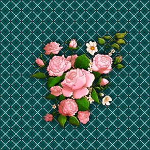 Large Scale Roses on Plaid