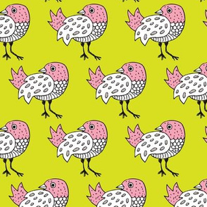 Quirky doodle birds illustration in lime and pink