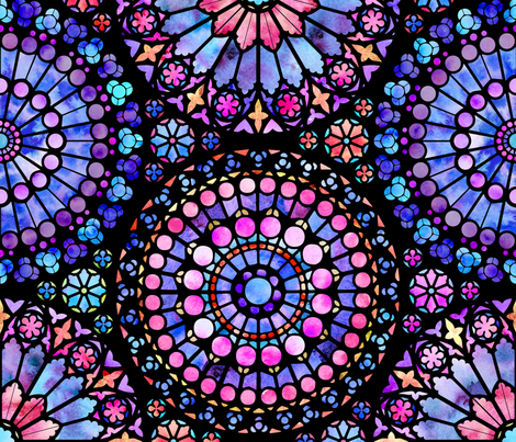 Painted Rose Windows (Purple and Red - Large)  fabric by logan_spector on Spoonflower - custom fabric