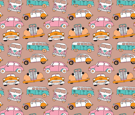 Vintage quirky oldtimers and car icons illustration pattern fabric by littlesmilemakers on Spoonflower - custom fabric