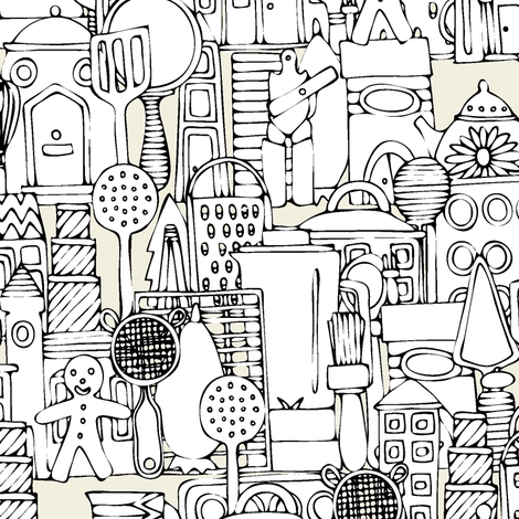 kitchen town ivory fabric by scrummy on Spoonflower - custom fabric