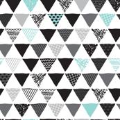 Geometric tribal aztec triangle blue modern patterns