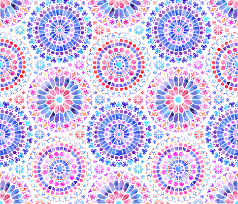 Painted Rose Windows (Purple and Red on White - Medium)  fabric by logan_spector on Spoonflower - custom fabric