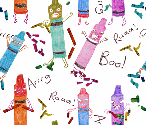 Crayon Monsters fabric by candyjoyce on Spoonflower - custom fabric