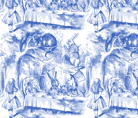 Alice In Wonderland ~ Late For Tea! ~ Nelson ~ Blue and White fabric by peacoquettedesigns on Spoonflower - custom fabric