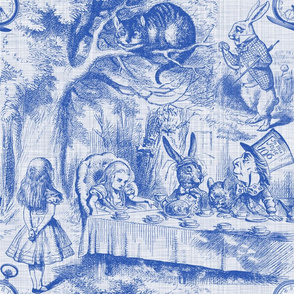 Alice In Wonderland ~ Late For Tea! ~ Nelson ~ Blue and White ~ Linen Luxe