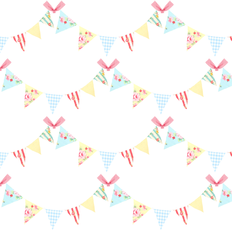 Birthday Bunting-ed fabric by vintagegreenlimited on Spoonflower - custom fabric
