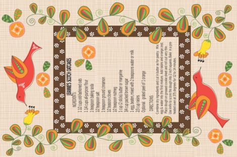 Jeannie's Scotch Oatcakes Tea Towel fabric by vanillabeandesigns on Spoonflower - custom fabric