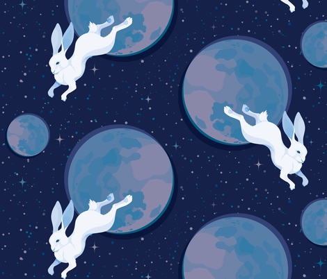 Voyage of the Moon Bunny fabric by lunasol on Spoonflower - custom fabric