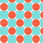Aqua Blue & Orange Dots Retro Checkered Pattern