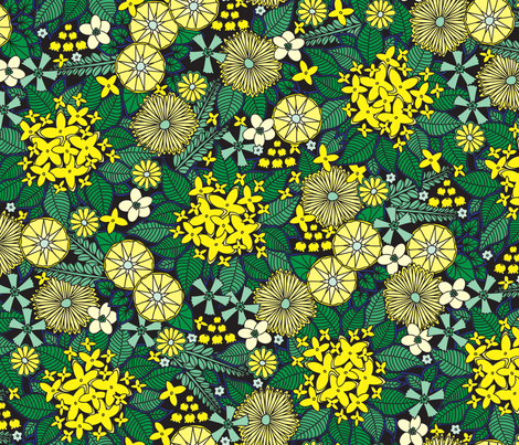 Wild Wallflowers (Yellow) fabric by robyriker on Spoonflower - custom fabric