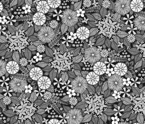 Wild Wallflowers (Gray) fabric by robyriker on Spoonflower - custom fabric