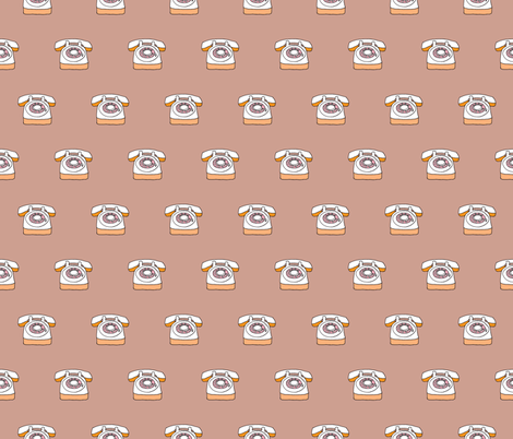 Hello yes - Retro telephone beige fabric by littlesmilemakers on Spoonflower - custom fabric