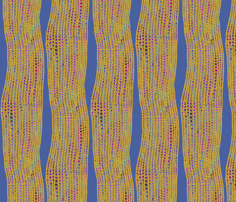 Ghana Textured Columns Yellow on Steel Blue fabric by bloomingwyldeiris on Spoonflower - custom fabric