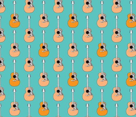 Retro acoustic guitar music design fabric by littlesmilemakers on Spoonflower - custom fabric