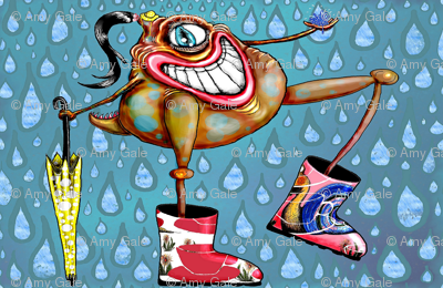 Cyclopian Beauty in her Galoshes with Umbrella, small scale
