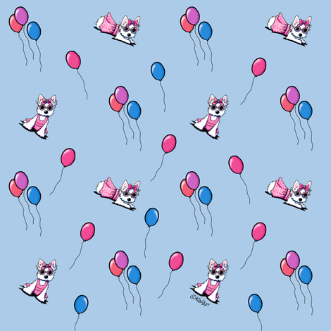 Olivia With Balloons (Small) fabric by kiniart on Spoonflower - custom fabric