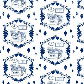 Tired Working Mom Toile de Jouy, small scale navy blue & white